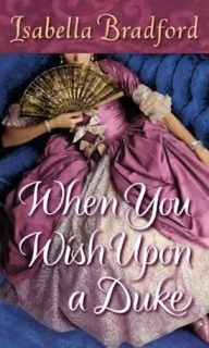 The cover of When You Wish Upon a Duke. A woman in a large purple dress, lounges back on a blue settee. Across her chest she has open a gold fan. We cannot see her face.