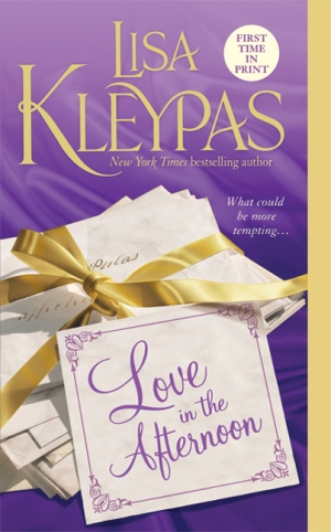 Cover of Kleypas' Love in the Afternoon. A purple background with a stack of letters, wrapped with a ribbon.