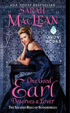 cover of maclean's one good earl. A blonde woman is sitting at a desk and is turned back looking at us, her head resting on her hand, elbow on the desk. There are glasses on the desk.