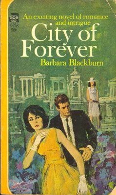 Cover of the City of Forever: the woman with the bouffant and the gloves, the man in the skinny tie!