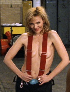 Samantha from Sex in the City, in a fireman's uniform, minus a shirt. Suspenders are covering her nipples.