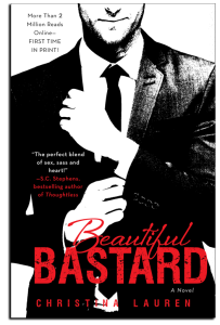 Cover for Beautiful Bastard. A ma in a black suit, skinny tie. We see him from nose to waist. He has one arm in front of him. The other hand appears to be pulling at the sleeve of that arm.