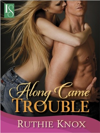 Cover of Ruthie Knox's ALONG CAME TROUBLE: A long-haired blonde woman who is naked from the waist up, leans into the back of a muscled man who is naked from the waist up. Since we are looking at them in profile, we can see the side of her breast, though her arm is out, reaching around his body, her hand touching his chest.