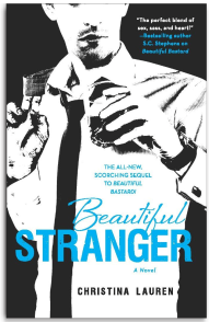 cover of beautiful stranger. we see a man in a white dress shirt, skinny black tie. we see him from nose to waist. in one hand he holds a drink, the other the top of the jacket he has slung over his shoulder.